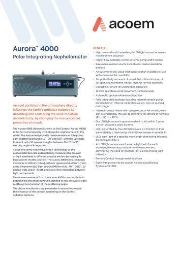ECOTECH Aurora 4000 spec sheet