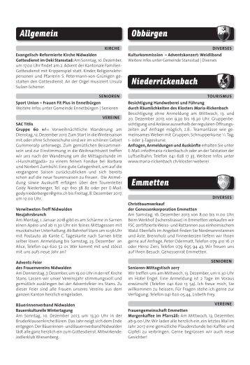 Gemeindespalten KW49 / 07.12.17