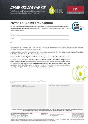 REOLIO Entsorgungsvereinbarung GVS – Version 1
