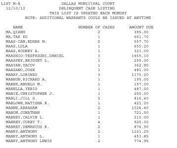 LIST M-R DALLAS MUNICIPAL COURT 12/10/12 ... - City of Dallas