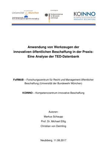 Anwendung von Werkzeugen der innovativen öffentlichen Beschaffung in der Praxis - Eine Analyse der TED-Datenbank