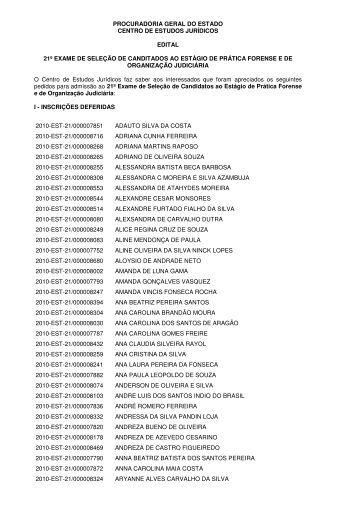 PROCURADORIA GERAL DO ESTADO CENTRO DE ESTUDOS ...