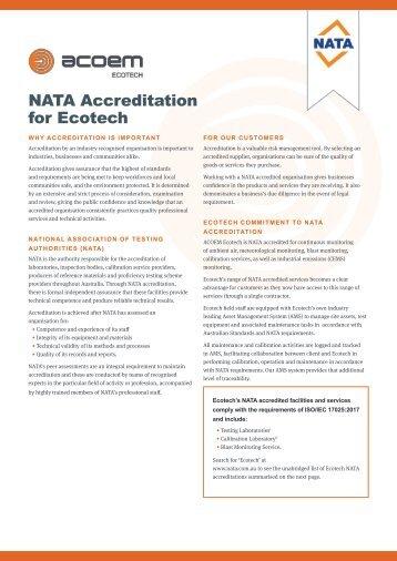 ECOTECH NATA Accreditation brochure