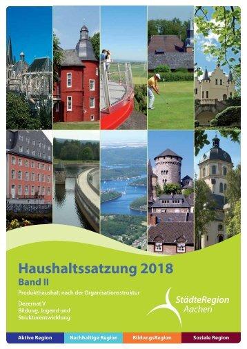Haushalt 2018 nach der Organisationsstruktur Dez. V