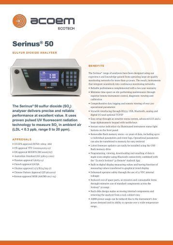 ECOTECH Serinus 50 SO2 Gas Analyser spec sheet