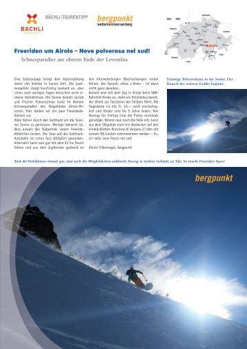 Tourentipp 02.2018 - Freeriden um Airolo – Neve polverosa nel sud!