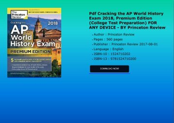 Pdf Cracking the AP World History Exam 2018, Premium Edition (College Test Preparation) FOR ANY DEVICE - BY Princeton Review