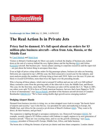 The Real Action Is in Private Jets Pricey fuel be ... - Elite Traveler