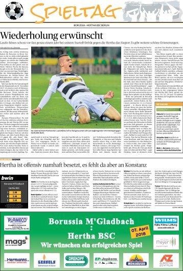 Spieltag: Borussia - Hertha BSC Berlin  -07.04.2018-