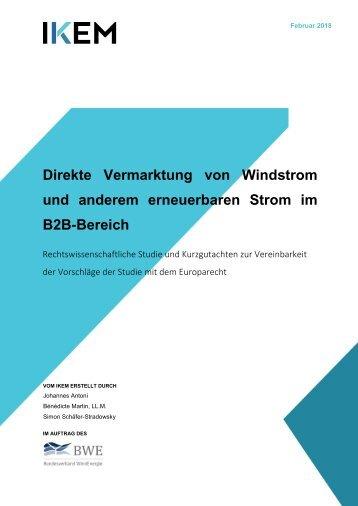 Studie: Direkte Vermarktung von Windstrom und anderen EE Strom im B2B-Bereich
