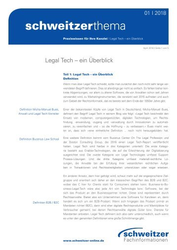 Schweitzer Thema: Legal Tech – Ein Überblick