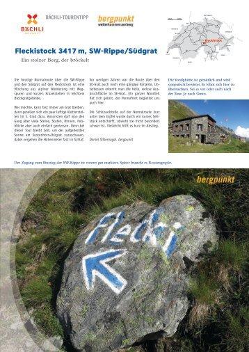 Tourentipp 06.20118 - Fleckistock 3417 m, SW-Rippe/Südgrat