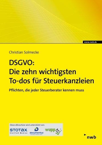 DSGVO: Die zehn wichtigsten To-dos für Steuerkanzleien