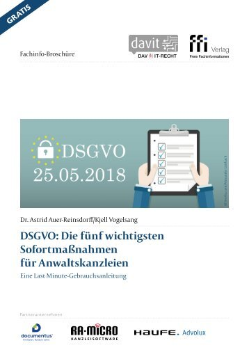 DSGVO: Sofortmaßnahmen für Anwaltskanzleien