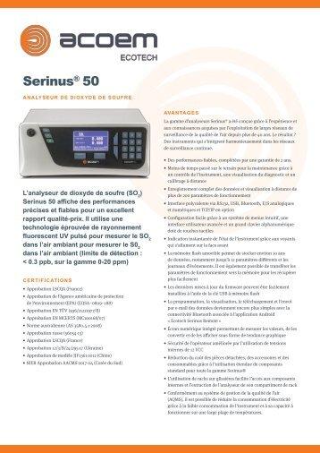 ECOTECH Serinus 50 SO2 Gas Analyser spec sheet (Français)