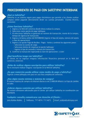 PROCEDIMIENTO DE PAGO CON SAFETYPAY INTERBANK