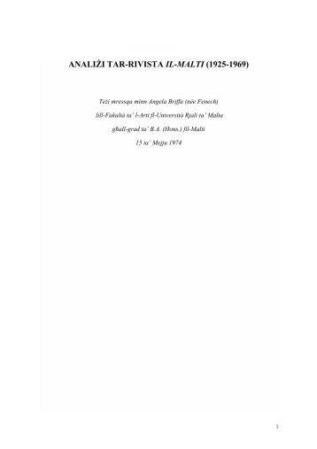 ANALIŻI TAR-RIVISTA IL-MALTI (1925-1969) - L-Akkademja tal-Malti