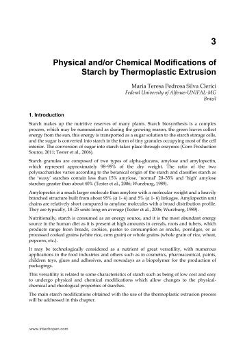 Physical and/or Chemical Modifications of Starch by ... - InTech