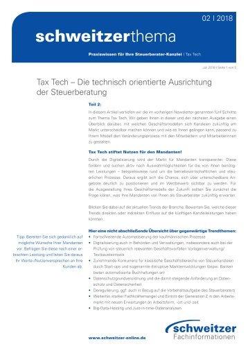 Schweitzer Thema für Steuerberater 2/18: Tax Tech