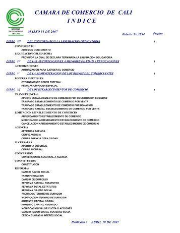I N D I C E CAMARA DE COMERCIO DE CALI - Cámara de ...