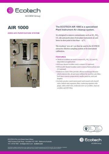 ECOTECH Air 1000 spec sheet