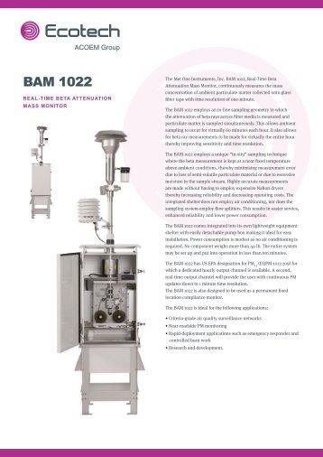 ECOTECH BAM 1022 spec sheet