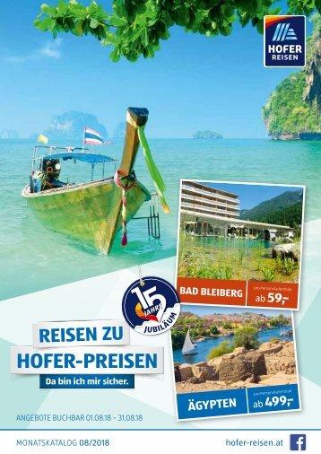 HOFER REISEN Monatskatalog August 2018