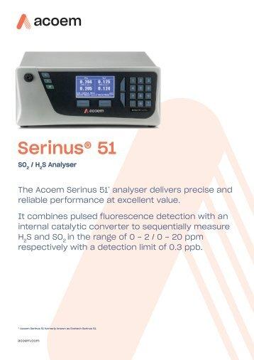 ECOTECH Serinus 51 SO2-H2S Analyser spec sheet