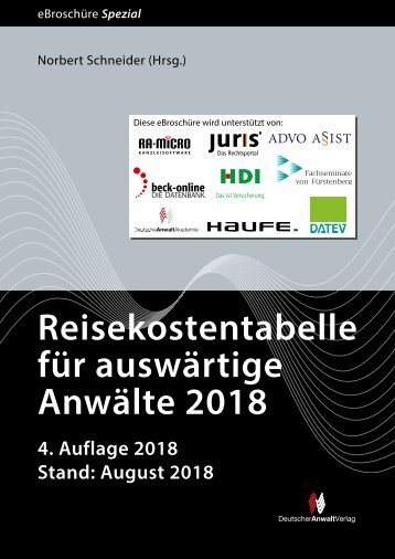 Reisekostentabelle für auswärtige Anwälte 2018, 4. Auflage