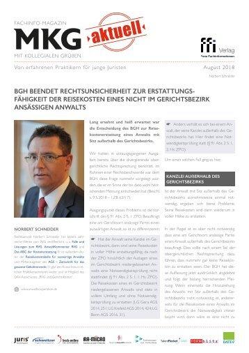 MkG aktuell - BGH beendet Rechtsunsicherheit bei Reisekostenerstattung