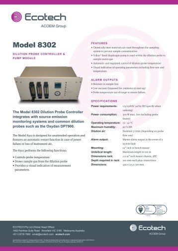 ECOTECH Model 8302 Dilution Probe Controller