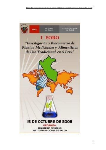 """I Foro """"Investigación y biocomercio en plantas medicinales ... - CDAM"""