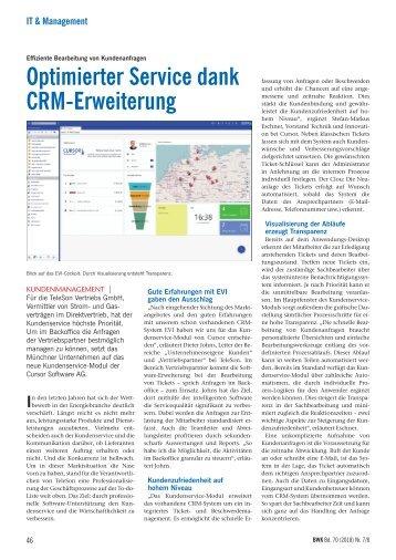 TeleSon Vertriebs GmbH, Optimierter Service dank CRM-Erweiterung, BWK 7/8 2018