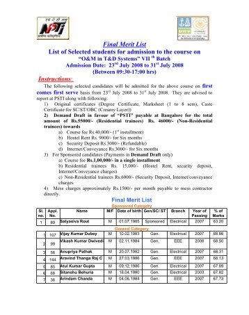 Final Merit List List of Selected students for admission to the course on