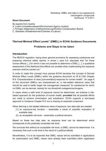 Handout: Derived Minimal Effect Levels (DMEL) in ECHA Guidance ...