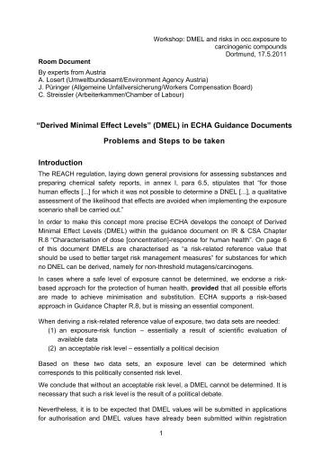 Handout: Derived Minimal Effect Levels (DMEL) in ECHA Guidance ...