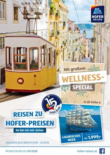 HOFER REISEN Monatskatalog September 2018