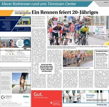Klever Radrennen rund ums TÖNNISSEN-C.E.N.T.E.R. - 07.09.2018