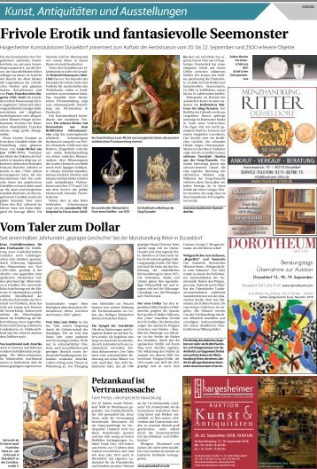 Kunst, Antiquitäten und Ausstellungen  -14.09.2018-