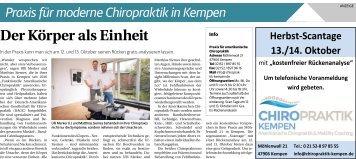 Praxis für moderne Chiropraktik in Kempen  -06.10.2018-