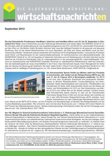 Ausgabe 09/2012 - Verbund Oldenburger Münsterland