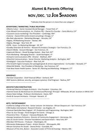 November/December 2012 Job Shadows - Dartmouth College