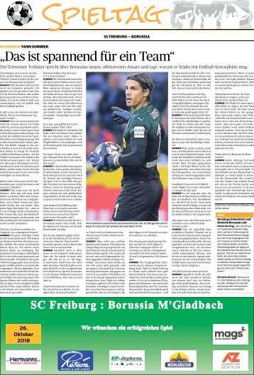 Spieltag: SC Freiburg - Borussia  -27.10.2018-