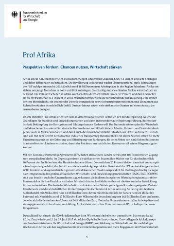 Export: BMWi Strategiepapier Pro Afrika