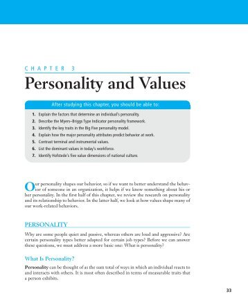 Personality and Values Our