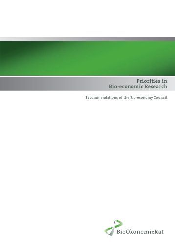 Priorities in Bio-economic Research - Bioeconomy in Action