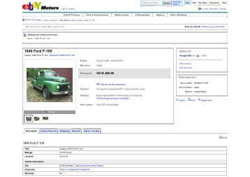 1949 Ford F-100 - Keith Martin's Collector Car Price Tracker