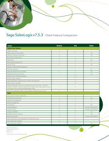 Sage Saleslogix Client Comparison Chart - Sage Software