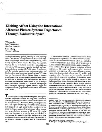 Eliciting Affect Using the International Affective Picture System ...