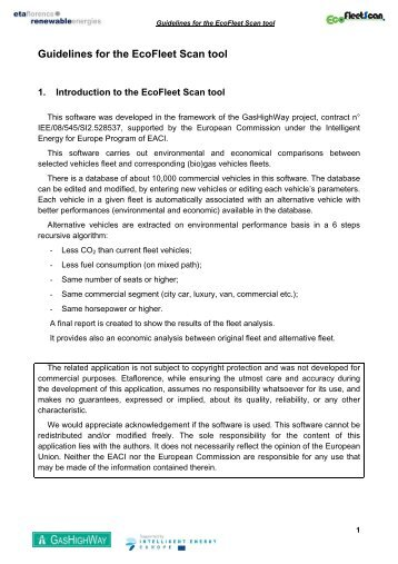 Guidelines for the EcoFleet Scan tool